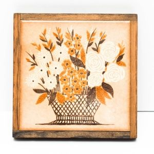 Floral Basket Wall Hanging Picture Wood Ceramic